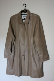 Prego ladies leather knee length caramel coloured coat