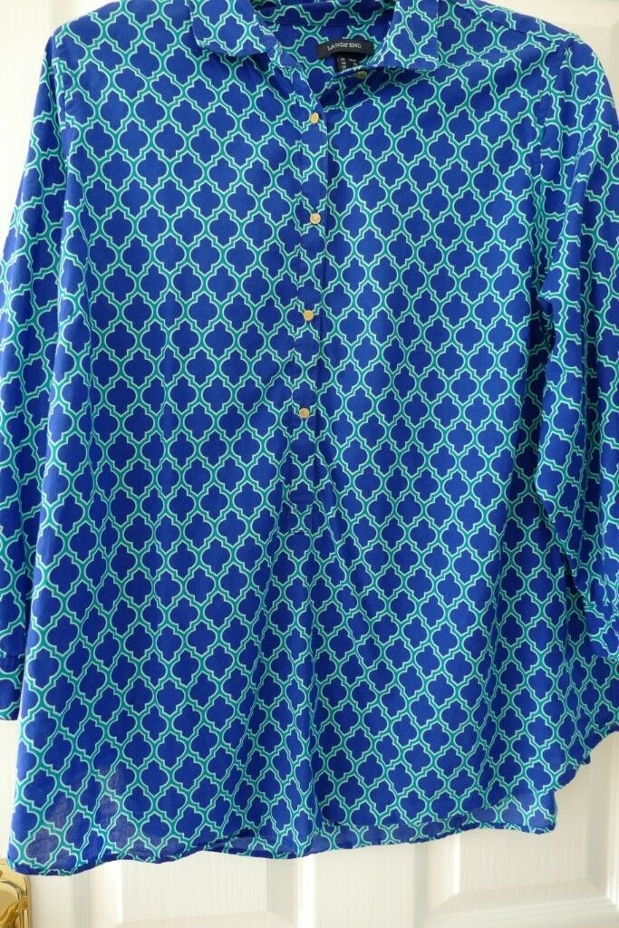 2c7837244e4 Size 24 - Ladies Lands' End Sapphire Blue / green Tunic Top. NEW ...