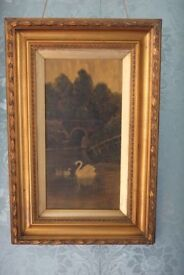 Signed Antique oil on board painting of swans in period frame