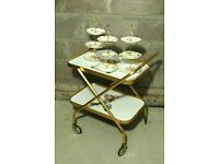 Vintage 2 tier fold away gold & peony rose bar cart/hostess trolley