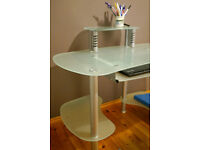Stylish Frosted Glass and Metal Desk / Computer Table