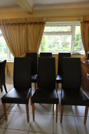Dining Chairs - Great value set of 6 dark brown classic chairs