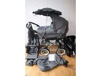 Emmaljunga Edge Duo Combi pram with car seat 3 in 1 Grey Leaves *can post*