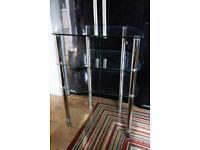 Glass & Chrome 4 shelf TV or Stereo stand