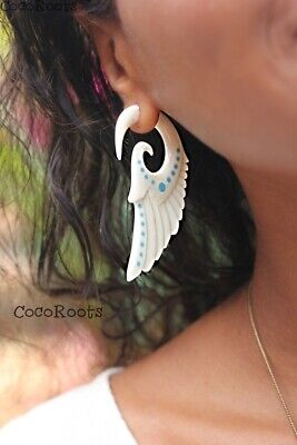 Fake Gauge Ear Stretcher Angel Wings Earring Cheater Body Piercing Jewelry ()