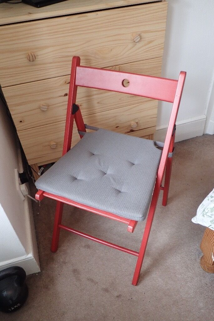 IKEA TERJE Folding Chair (red) with JUSTINA Chair Pad (Grey) : terje chair ikea - Cheerinfomania.Com