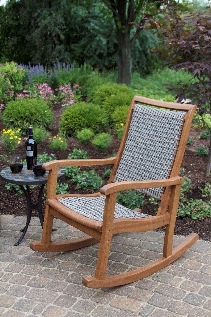 Home Decor Solid Wood Antique Eucalyptus Rocker Wicker Outdoor Rocking Chair  Brand New
