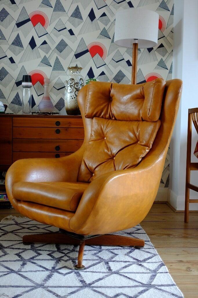 Vintage RETRO Egg Bucket Swivel Chair Danish Mid Century 60s 70s