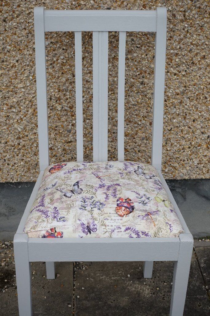 Painted Grey Frames With Butterfly Fabric On The Seat Of These  Re Upholstered Chairs