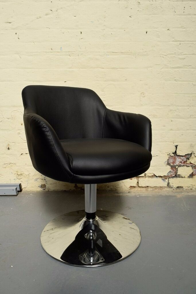 New Retro Inspired Black Faux Leather Swivel Bucket Chair