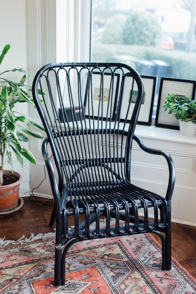 IKEA STORSELE High Back Armchair, Black, Rattan   Chair   Conservatory    Patio
