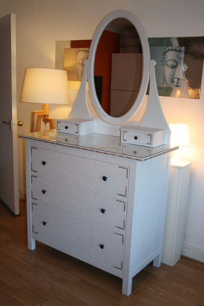 Stunning IKEA HEMNES 3 Drawers Chest With Vanity Mirror And Glass Top*  Upcycled