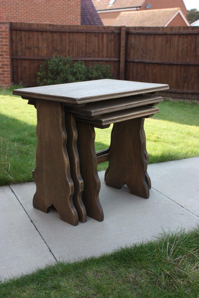Vintage Webber Furniture Solid Oak Nest Of Tables, Nested Tables