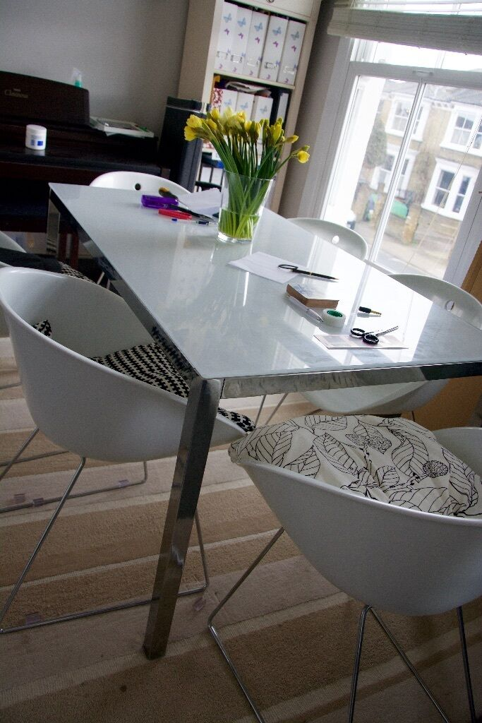 Good Ikea Torsby Table   White Glass Top   Well Looked After 135 X 85cm,  Rectangular