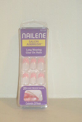 Nailene Salon Airbrush Glue On Nails 20 Pink French Tip White Dots Long Wearing
