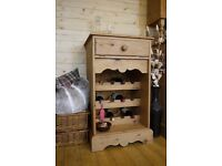 Farmhouse rustic stripped & waxed solid pine wine rack, cupboard cabinet unit