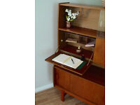 Retro Vintage 1970's 60s Teak Highboard Sideboard Mid Century Drinks Cabinet & Desk