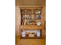 Farmhouse rustic solid waxed pine French kitchen dresser sideboard shelving unit