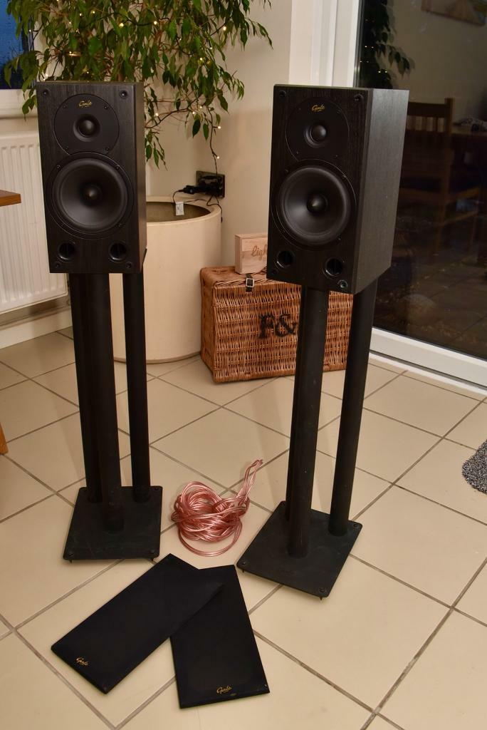 Gale 3020 Bookshelf Speakers Stands And Cable