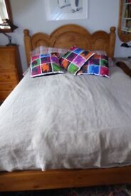 Wooden king size bed.