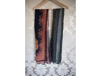 Navy blue and Orange patterned Scarf & Spotted black and white scarf