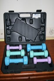 Set of 6 weights from 1kg to 2.5KG, complete with carrying case, collect from Sheringham - £15