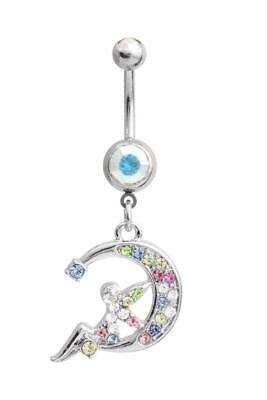 Fairy Moon Belly Ring AB Clear Blue Pink Green Yellow Dangle Navel CZ Pixie Fairy Belly Ring Body Jewelry