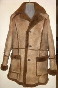 MENS 38 40 M SHEEPSKIN COAT Thick and Warm Vintage MINT Brown Leather Attic Made in Canada Long Sleeves Tall Back Vtg