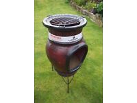 Brand New LARGE LA HACIENDA PAROS CLAY CHIMINEA PATIO HEATER WITH BBQ ON STAND