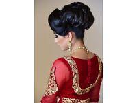 Couture Red Velvet Asian Bridal wedding dress