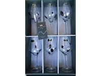 Set of 6 Brand New Beautiful Black Dotted Wine Goblets Glasses
