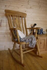 Beautiful Farmhouse waxed solid pine / beech fiddleback rocking chair