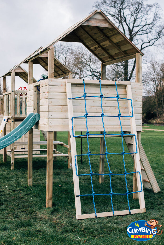 8ft wooden cargo climber net for climbing frame tree for Wooden jungle gym plans