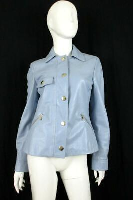 ETCETERA POWDER BLUE QUILTED LEATHER JACKET SZ.6