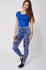 Denim Print Leggings With Black Lace Patches