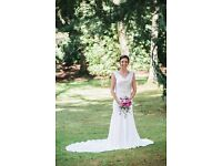 Elegant size 8 Anoushka G. 'Alexandra' bridal gown, ivory-coloured with glamorous low back and train