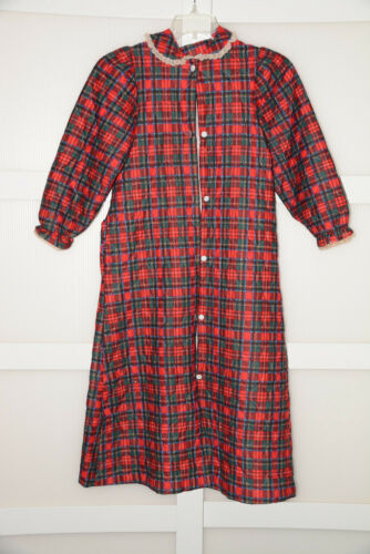 Vintage Cassie Plaid Quilted Night Robe Red Green Christmas Girls Size 14 Lace