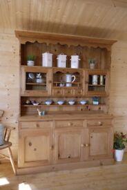 Rustic solid waxed pine wood Dresser display unit cabinet cupboard sideboard
