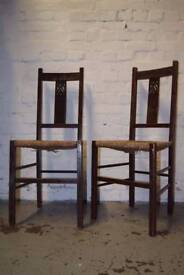 Pair Of Oak And Rush Seat Side Chairs (DELIVERY AVAILABLE)