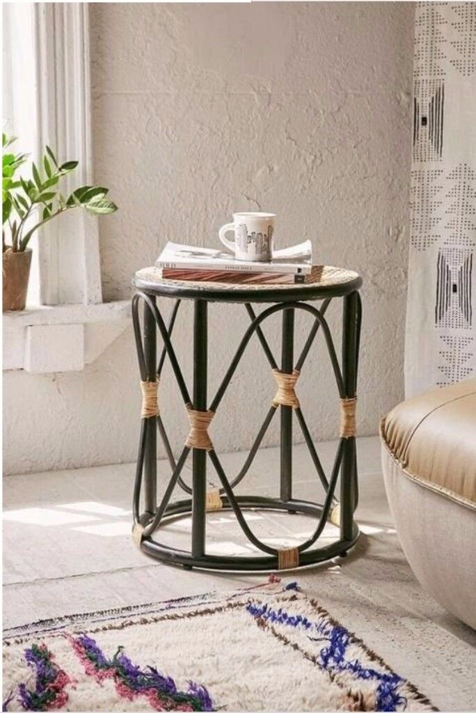 NEW Stylish Bamboo Side Table - Black and Beige, Woven