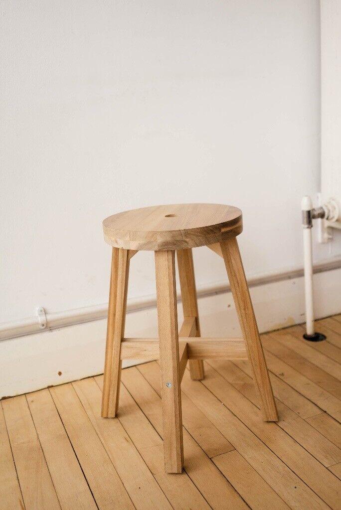 Ikea Skogsta Stool Acacia 45 Cm Solid Wood 3