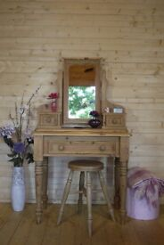 Rustic farmhouse solid waxed pine dressing table with Large mirror and stool.