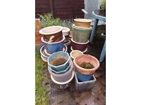 5x Ceramic garden pots for plants mix and match £25
