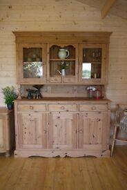 Solid farmhouse waxed pine dresser,cabinet,cupboard,freestanding kitchen, larder
