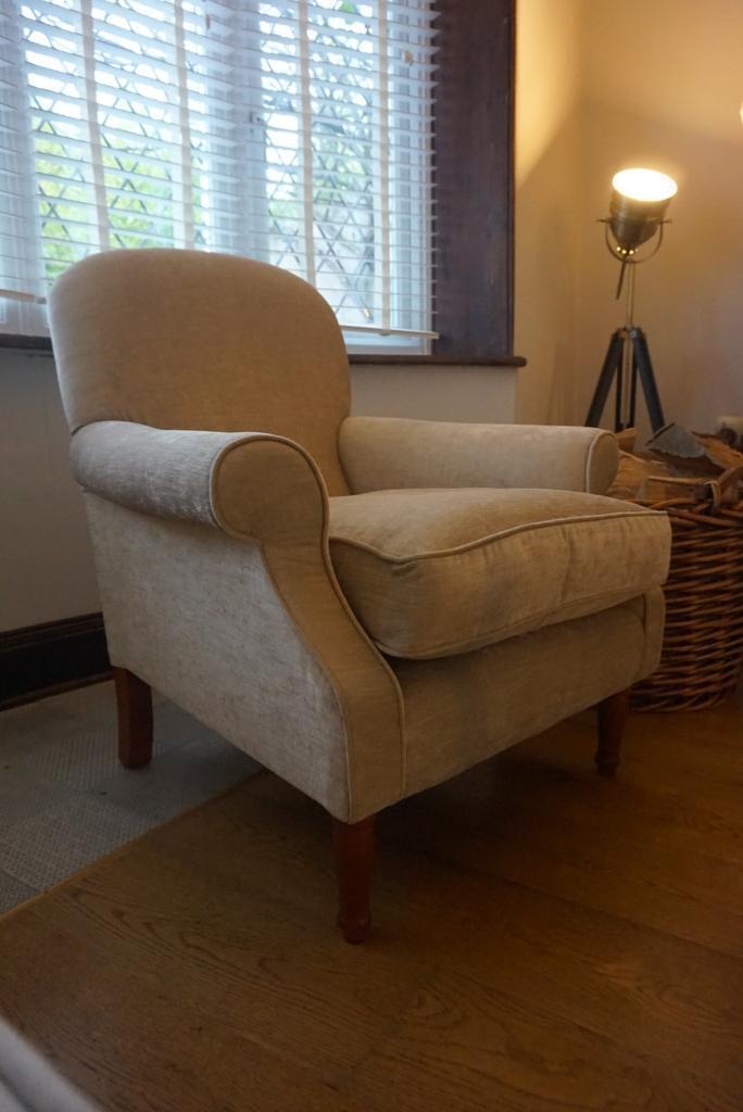 Laura Ashley plain Back Cambridge armchair with arm covers ...