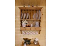 Farmhouse rustic raw pine wood plate rack shelving wall unit dresser with drawer