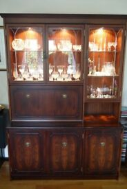Dining room furniture, table and 6 chairs, 3 section display cabinet, HiFi cabinet all in good order