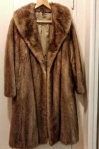 Womens 16P FULL MINK COAT Real Fur Vintage Excellent brown Nova Scotia  Canada Retro Wide Hip