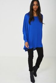 OVERSIZED TUNIC TOP IN SAPPHIRE BLUE