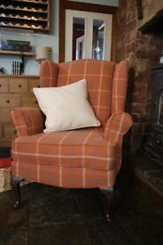 Chesterfield high back wing fireside arm chair in Lewis tartan wool feel fabric